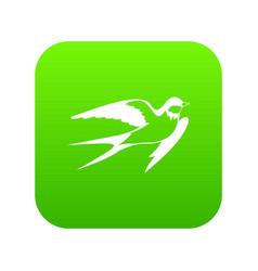 barn swallow icon digital green vector image