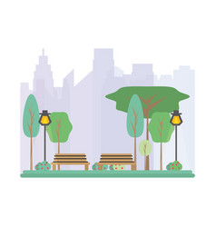 Beauty park and cityscape metropolis vector