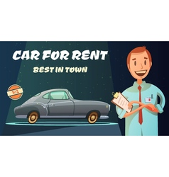 Best Rental Car Retro Cartoon Poster vector