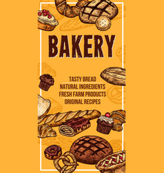 bread sketch banner for bakery shop vector image