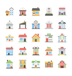 Buildings flat icons set vector