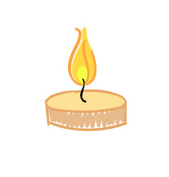 Burning hand drawn candle isolated on white vector