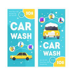 Car wash service vertical banner card set vector