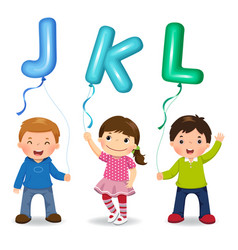 Cartoon kids holding letter jkl shaped balloons vector
