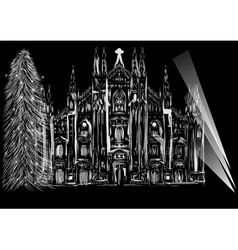 cathedral and christmas tree vector image