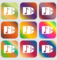 Cd player icon sign nine buttons with bright vector
