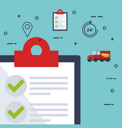 Checklist with delivery service icons vector