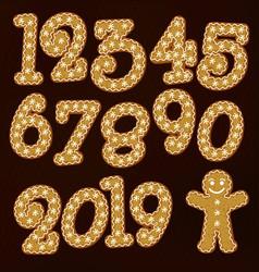 Christmas gingerbread numbers gingerman vector
