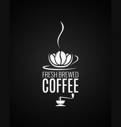 Coffee cup logo beans with grinder vector