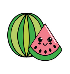 Color kawaii happy watermelon icon vector