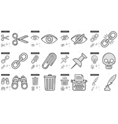 Content Edition line icon set vector