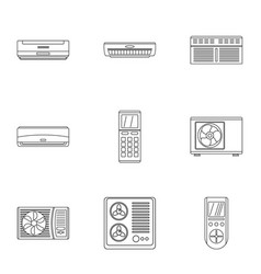 controlgear icons set outline style vector image