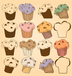 Cupcakes set chocolate chips muffins vector