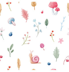 Cute baby pattern with watercolor snail vector