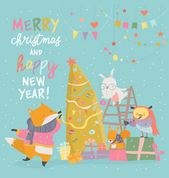 Cute christmas greeting card with happy animals vector