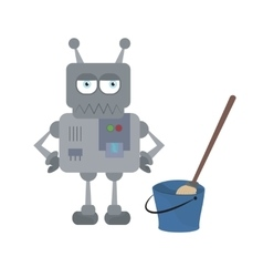 Cute sad house robot and cleaning tools standing vector image