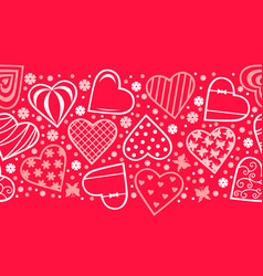 decorative hearts horizontal pattern seamless vector image