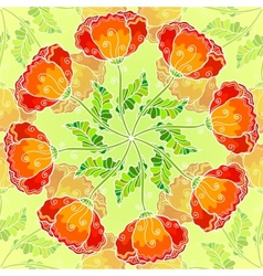 Decorative ornate poppy flowers circle vector