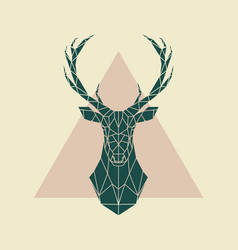 Deer green geometric sign vector