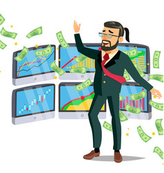 dollar rain businessman winner cash vector image