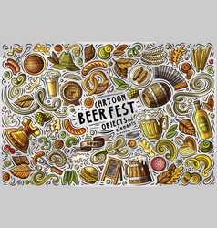 Doodle cartoon set of beer fest objects vector