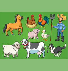 farmer and animals set vector image