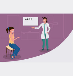 female ophthalmologist checking woman patient vector image
