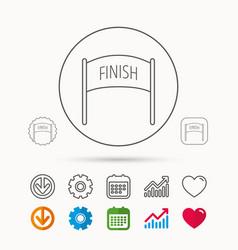 finish banner icon marathon checkpoint sign vector image