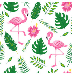 flamingo and leaves seamless pattern - tropical vector image