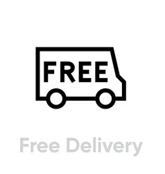 Free delivery truck icon editable line vector