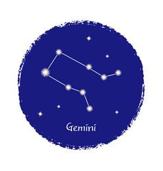 gemini zodiac constellation sign on dark vector image