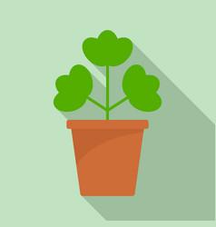 geranium pot icon flat style vector image