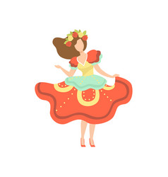 girl in colorful dress and wreath of flowers vector image