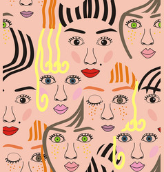 Girls faces with eyes hairs noses and lips vector