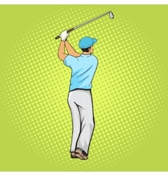 Golf player with bat pop art style vector image