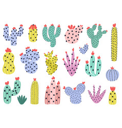 hand drawn cactuses set cute cacti collection in vector image