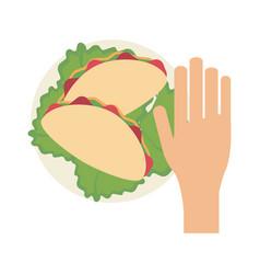 hand grabbing burrito vector image