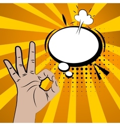 Hand sign comic retro pop art white circle bubble vector