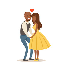 Happy couple in love holding hands colorful vector