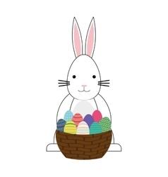 Happy easter bunny cartoon isolated icon vector