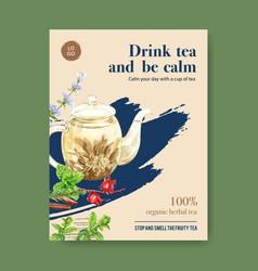 Herbal tea poster design with cinnamon mint vector