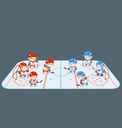 hockey play field teams players cartoon flat vector image