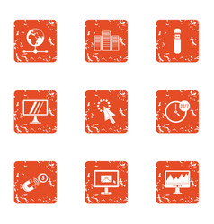 Host icons set grunge style vector