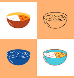 Indian curry food icon set in flat and line styles vector