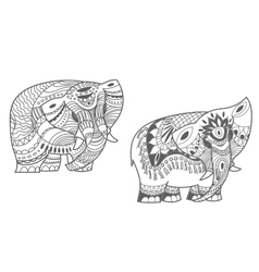 indian elephants set vector image