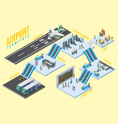 Isometric airport halls concept vector