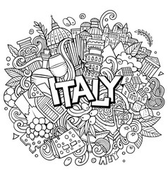 italy hand drawn cartoon doodles vector image