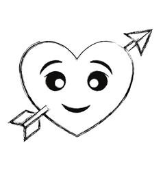 kawaii arrowed heart icon vector image