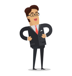 Laughing businessman in flat design vector