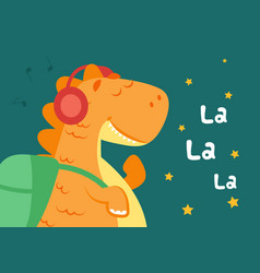 little dinosaur poster baby boy dino cartoon vector image